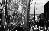 Durham Miners Gala, 1974. Miners from Usworth Lodge parade their banner for the final time in the annual Big Meeting as their pit has closed down. - John Sturrock - 14-07-1974