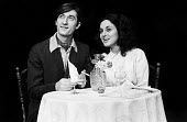 Philip Sayer and Lesley Joseph in Morecambe written by Franz Koetz, Hampstead Theatre, London, 1975. - John Sturrock - 1970s,1975,ACE,act,acting,actor,actors,actress,actresses,arts,cities,city,culture,drama,DRAMATIC,entertainment,FEMALE,Joseph,Lesley,London,maker,makers,making,male,man,men,people,performance,performer