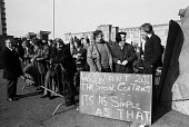 Massey Ferguson strike, Coventry, 1975. Picket line at the occupied plant in Banner Lane. - John Sturrock - Trades Union,1970s,1975,AEU,DISPUTE,DISPUTES,EARNINGS,FACTORIES,factory,industrial dispute,industrial relations,man men,Massey Ferguson,member,member members,members,occupation,Occupation Occupying,oc