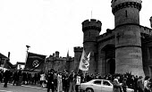 Supporters of Des Warren and Ricky Tomlinson protest outside HMP Leicester, 1975 where the Shrewsbury Two were in jail for their trade union activity - John Sturrock - 08-03-1975