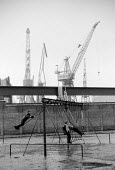 Children playing on the swings in a playground in the 1970's with the cranes of the Govan shipyard towering behind them. - John Sturrock - 1970s,1976,adolescence,adolescent,adolescents,boy,boys,capitalism,capitalist,child,CHILDHOOD,children,cities,city,crane,cranes,EBF,Economic,Economy,Glasgow,heavy,Industries,industry,juvenile,juveniles
