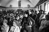 Mass meeting of women from TRICO on strike for Equal Pay, London, 1976 - John Sturrock - ,1970s,1976,AUEW,campaign,campaigning,CAMPAIGNS,disputes,Equal Pay,equality,fair pay,female,INDUSTRIAL DISPUTE,London,Mass,meeting,MEETINGS,member,member members,members,metropolitan,people,person,per