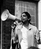 Jayaben Desai leader of the Grunwick dispute, speaking to supporters on the picket line, London 1976 - John Sturrock - 29-10-1976