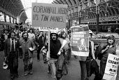 Miners arrive at Paddington Station from Cornwall on their way to a demonstration & lobby in Westminster by Cornish Tin miners against closure of their mines and loss of their jobs. - John Sturrock - 03-05-1978