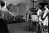 Life drawing art class with female nude model, London, 1947. .... - Lallah Churchill - 1940s,1947,ACE,art,artist,artists,arts,artwork,artworks,brush,Churchill,cities,city,college,COLLEGES,culture,draw,drawing,easel,edu,educate,educating,education,educational,FEMALE,figure,figures,knowle
