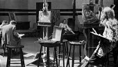 Composite of two prints showing life drawing art class with female nude model, London, 1947. .... - Lallah Churchill - 1940s,1947,ACE,art,artist,artists,arts,artwork,artworks,brush,Churchill,cities,city,college,COLLEGES,culture,draw,drawing,easel,edu,educate,educating,education,educational,FEMALE,figure,figures,knowle
