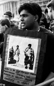 Anti-Apartheid protest outside the South African Embassy, London, 1987, for the unconditional release of Nelson Mandela and all political prisoners in South Africa - Lanre Fehintola - 25-09-1987