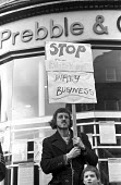 Outside the offices of the Islington estate agents, Prebble, pickets protest against the active role of the company in the removal of Islington tenants from their homes to further the gentrification o... - Mike Sheridan - 07-12-1974