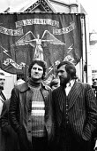 Protest in support of the Shrewsbury Two, Des Warren & Ricky Tomlinson, outside the High Court with a ETU banner. - Mike Tomlinson - 1970s,1974,activist,activists,against,CAMPAIGN,campaigner,campaigners,CAMPAIGNING,CAMPAIGNS,cities,city,Court,DEMONSTRATING,demonstration,DEMONSTRATIONS,Eletrical,ETU,male,man,martyr,martyrs,member,me