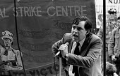 Gordon Brown MP speaking at a rally in support of striking NUM miners - John Harris - ,1980s,1984,activist,activists,BANNER,banners,CAMPAIGN,campaigner,campaigners,CAMPAIGNING,CAMPAIGNS,DEMONSTRATING,demonstration,DEMONSTRATIONS,disputes,Great Miners Strike,INDUSTRIAL DISPUTE,labour pa