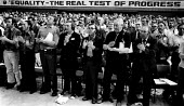 Equality - The Real Test of Progress 1981 every delegate is male, TGWU 29th Biennial Conference BrightonEquality - The Real Test of Progress 1981 every delegate is male, TGWU 29th Biennial Conference... - Nick Oakes - 1980s,1981,applauding,applause,Conference,conferences,delegate,delegates,equal,equal rights,equality,inequality,ironic,irony,male,member,member members,members,progress,standing ovation,T&G,Test,TESTE