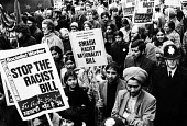 Demonstration against the proposed Nationality Bill in 1981, deemed by many black British subjects and others to be a racist piece of legislation. - Nick Oakes - 1980s,1981,activist,activists,against,ages,Anti Racism,anti racist,Asian,Asians,Association,ASSOCIATIONS,BAME,BAMEs,banner,BANNERS,bigotry,black,BME,bmes,campaign,campaigner,campaigners,campaigning,CA