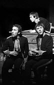 Simon Callow, left, Richard Beckinsale, right, and Denis Lawson in Mrs. Grabowski's Academy by John Antrobus, Royal Court Theatre Upstairs, London, 1974 - Peter Harrap - 05-02-1974