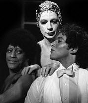 Flowers, A Pantomime for Jean Genet, Bush Theatre, London, 1974. Lindsay Kemp (c) and Neil Caplan (r) - Peter Harrap - 03-01-1974