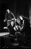 Alan Bennett, Dudley Moore, Jonathan Miller & Peter Cook playing the rustics from The End Of The World sketch, written by Peter Cook, in a performance from the Beyond The Fringe show at the Fortune Th... - Romano Cagnoni - 1960s,1961,ACE,act,acting,actor,actors,Alan,arts,Bennett,Beyond,cities,city,comedy,Cook,COOKS,culture,Dudley,entertainment,Fringe,Jonathan,London,male,man,men,Miller,Moore,parody,people,performance,pe