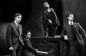 Peter Cook, Dudley Moore, Alan Bennett & Jonathan Miller singing the chorus from 'The Steppes In The Right Direction' sketch, in a performance from the Beyond The Fringe show at the Fortune Theatre in... - Romano Cagnoni - 1960s,1961,ACE,act,acting,actor,actors,Alan,arts,Bennett,Beyond,cities,city,comedy,Cook,COOKS,culture,Dudley,entertainment,Fringe,Jonathan,London,male,man,men,Miller,Moore,parody,people,performance,pe