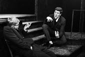 Jonathan Miller & Alan Bennett playing the contemporary philosophers from the Words & Things sketch, in a performance from the Beyond The Fringe show at the Fortune Theatre in London in 1961. .... - Romano Cagnoni - 1960s,1961,ACE,act,acting,actor,actors,Alan,arts,Bennett,Beyond,cities,city,comedy,culture,entertainment,Fringe,Jonathan,London,male,man,men,Miller,modern,parody,people,performance,performer,performer