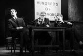 Peter Cook, Alan Bennett, Jonathan Miller playing The Experts, Civil War sketch, Beyond The Fringe show at the Fortune Theatre, London, 1961 - Romano Cagnoni - 1960s,1961,ACE,act,acting,actor,actors,Alan,arts,Bennett,Beyond,cities,city,comedy,Cook,COOKS,culture,entertainment,Fringe,Jonathan,London,male,man,men,Miller,parody,people,performance,performer,perfo