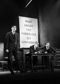 Peter Cook, Alan Bennett & Jonathan Miller playing 'the experts' in the 'Civil War' sketch, in a performance from the Beyond The Fringe show at the Fortune Theatre in London in 1961. .... - Romano Cagnoni - 1960s,1961,ACE,act,acting,actor,actors,Alan,arts,Bennett,Beyond,cities,city,comedy,Cook,COOKS,culture,entertainment,Fringe,Jonathan,London,male,man,men,Miller,parody,people,performance,performer,perfo
