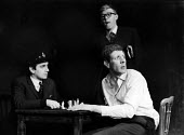 Dudley Moore, Alan Bennett & Jonathan Miller in 'the death cell' from 'The Suspense Is Killing Me' sketch, in a performance from the Beyond The Fringe show at the Fortune Theatre in London in 1961. ..... - Romano Cagnoni - 1960s,1961,ACE,act,acting,actor,actors,Alan,arts,Bennett,Beyond,cities,city,comedy,culture,death,DEATHS,died,Dudley,entertainment,Fringe,Jonathan,Killing,London,male,man,men,Miller,Moore,mortality,par