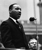 Civil Rights Activist, Dr. Martin Luther King, Westminster Central Hall, London: 'Colour prejudice must go', London, Canon John Collins is to King's left. - Romano Cagnoni - 30-10-1961