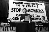 Acclaimed author, Iris Murdoch, speaking at a rally to Stop The War in Vietnam in London in 1965. - Romano Cagnoni - 1960s,1965,activist,activists,against,anti,anti war,anti-Vietnam,Antiwar,author,AUTHORS,CAMPAIGN,campaigner,campaigners,CAMPAIGNING,CAMPAIGNS,cities,city,DEMONSTRATING,demonstration,DEMONSTRATIONS,FEM
