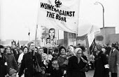 Women Against The Bomb join the traditional CND march. Easter protest against nuclear arms, London 1965 - Romano Cagnoni - ,1960s,1965,activist,activists,adult,adults,Against,Anti Nuclear weapons,Anti War,Antiwar,atomic,banner,banners,Bomb,BOMBS,boy,boys,Campaign,Campaign for Nuclear Disarmament,campaigner,campaigners,CAM