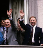 Neil Kinnock, then leader of the Labour Party and Arthur Scargill, then General Secretary of the NUM, waving to miners at the Durham Miners Gala from the balcony of the County Hotel in July,1984. - Stefano Cagnoni - 1980s,1984,Arthur Scargill,disputes,EMOTION,EMOTIONAL,EMOTIONS,HAPPINESS,happy,Hotel,HOTELS,INDUSTRIAL DISPUTE,Labour Party,leader,member,member members,members,MINER,miners,MINER'S,miners' strike,min