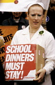 School dinner ladies protest against the privatisation of the school dinner service and the contracting out of their work. - Stefano Cagnoni - 06-03-1984