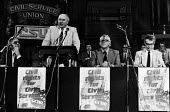 TUC Gen Sec Norman Willis speaking at a GCHQ solidarity rally, London, 1984. - Stefano Cagnoni - trade union,1980s,1984,activist,activists,against,ban,banned,banning,Bickerstaffe,campaign,campaigner,campaigners,campaigning,CAMPAIGNS,civil rights,civil service,CSU,DEMONSTRATING,demonstration,DEMON