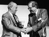 Les Wood of UCAAT receiving the TUC Gold Badge from President, Jack Eccles, at TUC Congress in 1985. - Stefano Cagnoni - 1980s,1985,Gold,member,member members,members,people,President,Trade Union,Trade Union,trade unions,Trades Union,Trades Union,trades unions,TUC,TUCs