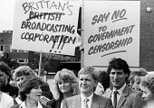"""BBC journalists strike 1985, including news reporters Sue Lawley (L) and Jeremy Paxman (R) take 24 hour strike action in protest at BBC management cancelling the broadcast of """"Real Lives, their Channe... - Stefano Cagnoni - 07-08-1985"""