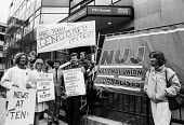 """ITN journalists take 24 hour strike action in solidarity with their BBC counterparts in protest at the BBC Board of Governors cancelling the broadcast of """"Real Lives, their Channels documentary on the... - Stefano Cagnoni - 07-08-1985"""