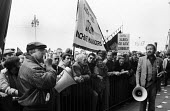 Mike Hicks speaking, SOGAT lobby of the TUC Congress Brighton for support for News International printworkers sacked by Rupert Murdoch prior to his moving his printing presses to Wapping. Holding the... - Stefano Cagnoni - 02-09-1986