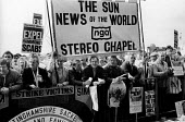 News International printworkers sacked by Rupert Murdoch prior to his moving his printing presses to Wapping, lobby the TUC Congress in Brighton calling for support in their industrial dispute. - Stefano Cagnoni - 02-09-1986