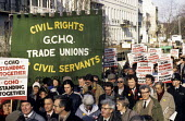 Rally in Cheltenham in support of workers from GCHQ, sacked for their membership of a trade union. - Stefano Cagnoni - 25-01-1986
