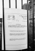 Letter from Farrers Solicitors placed on the gates of the News International plant in Wapping outlining optimum conditons to sack the workforce legally. - Stefano Cagnoni - 05-02-1986
