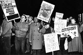 AAM supporters protest outside the Wembley Arena, 1986 prior to the Heavyweight fight between British boxer Frank Bruno and South African Gerry Coatzee, sports boycott against the apartheid regime - Stefano Cagnoni - 04-03-1986