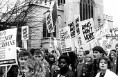 NUS demonstration against the introduction of loans in replace of grants for students through university education, London 1989. - Stefano Cagnoni - 1980s,1989,activist,activists,against,CAMPAIGN,campaigner,campaigners,CAMPAIGNING,CAMPAIGNS,DEMONSTRATING,demonstration,DEMONSTRATIONS,education,FEMALE,grant,grants,Higher Education,loan,loans,London,