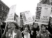 NUS demonstration against the introduction of loans in replace of grants for students through university education, London 1989. - Stefano Cagnoni - 1980s,1989,activist,activists,against,CAMPAIGN,campaigner,campaigners,CAMPAIGNING,CAMPAIGNS,debt,DEMONSTRATING,demonstration,DEMONSTRATIONS,education,FEMALE,grant,grants,Higher Education,loan,loans,Lo