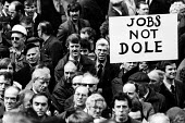 Workers from the British Rail Works at Horwich, near Bolton, demonstrate against planned closure of their yard with the loss of 1200 jobs, 1982. - John Smith - 26-04-1982