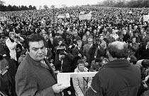 Convenors Brian Chambers (AEU facing camera) and Jack Adams (TGWU) address BL Mass meeting Cofton Park, Longbridge. November 1981 - Roy Peters - (BL),1980s,1981,ACTIVIST,ACTIVISTS,Austin Rover,Automotive,British Leyland,CAMPAIGN,campaigner,campaigners,CAMPAIGNING,CAMPAIGNS,capitalism,capitalist,Car Industry,carindustry,dispute,disputes,INDUSTR