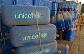 UNICEF emergency water supplies, at Nahr al-Bared Palestinian refugee camp. - Ron Coelle - 13-06-2008