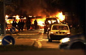 Urban riots in Toulouse (Southwestern France). A bus is set ablaze, at the beginning of the 12th night of urban violence in the district of la Reynerie, Toulouse - Jean Philippe Arles - 07-11-2005