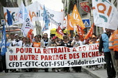 Millions strike in France to defend pensions against cuts in a day of action called by the trades unions CFDT, CFTC, CGT, FSU, Solidaires, UNSA, Nantes, France. - Jean Claude MOSCHETTI - ,2010,2010s,activist,activists,against,CAMPAIGN,campaigner,campaigners,CAMPAIGNING,CAMPAIGNS,CGT,cuts,DEMONSTRATING,demonstration,DEMONSTRATIONS,disputes,eu,Europe,european,europeans,eurozone,france,f