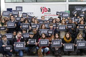 Bordeaux- Students of journalism from the Bordeaux Institute of Journalism (IJBA) observe a minute of silence for the victims of the shooting of cartoonists in the attack on the Charlie Hebdo magazine... - Sebastien Ortola - 08-01-2015