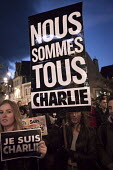 We are all Charlie, Je suis Charlie Hebdo A solidarity rally and vigil in Auvergne, after the shooting of cartoonists in the attack on the Charlie Hebdo magazine offices, Paris - Richard Damoret - 08-01-2015