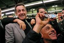 Nicolas Sarkozy UMP and candidate for president meeting workers. - Sebastien ORTOLA