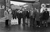 Picket Line at BL Longbridge. November 1981 Les Huckfield Labour MP for Nuneaton is on the far left (!). Jack Adams and Derek Robinson also present for the TGWU. - Roy Peters - 1980s,1981,Austin Rover,automotive,Automotive Industry,BL,British Leyland,car industry,carindustry carindustry,Derek Robinson,DISPUTE,dispute strike,DISPUTES,INDUSTRIAL DISPUTE,mass meeting,member,mem