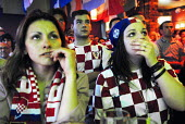 Croatian football fans living in London watch their team, play Australia. Chelsea, London. - Rogan Macdonald - 22-06-2006